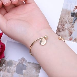 Jewelry - Letter A Initial Gold Charm Bangle Cuff Bracelet